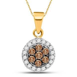 10kt Yellow Gold Womens Round Brown Diamond Framed Flow