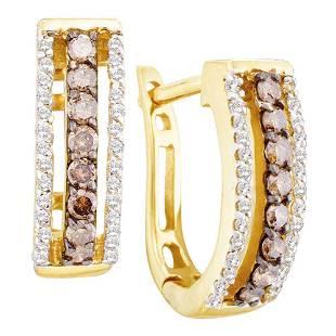 14kt Yellow Gold Womens Round Brown Diamond Hoop Earrin