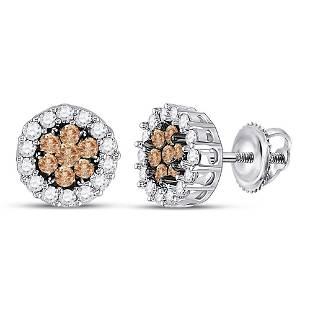 14kt White Gold Womens Round Brown Diamond Flower Clust