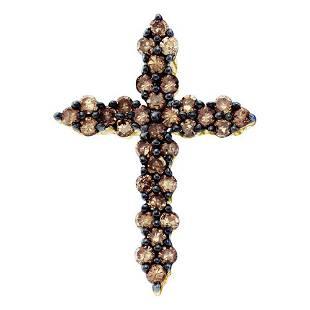 10kt Yellow Gold Womens Round Brown Diamond Cross Penda