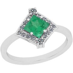 Certified 0.71 Ctw VS/SI1 Emerald And Diamond 14K White