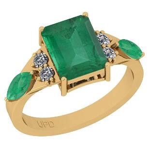 Certified 3.60 Ctw VS/SI1 Emerald And Diamond 14K Yello