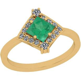 Certified 0.71 Ctw VS/SI1 Emerald And Diamond 14K Yello