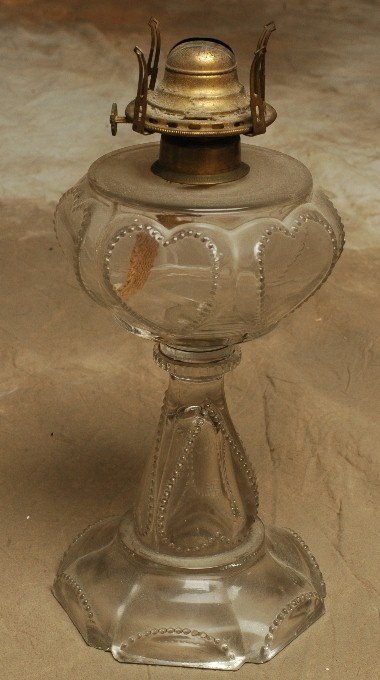 9: Early American Pressed Glass Table Lamp