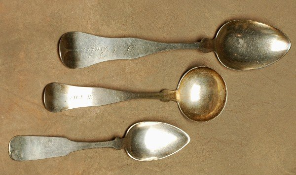 10: 3 1800's Coin Silver Spoons