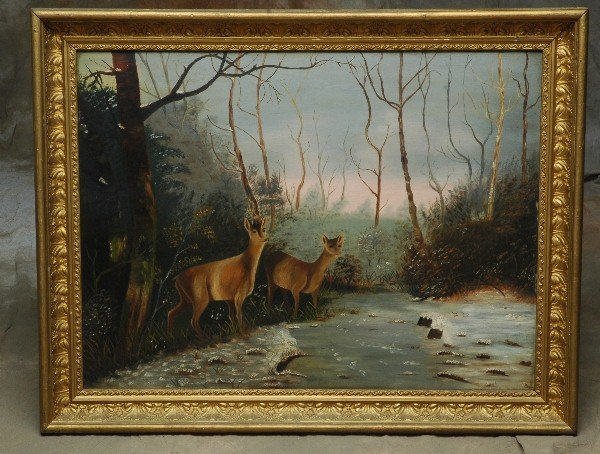 12: 1900's Folky Oil Painting Two Deer