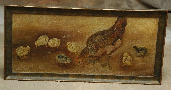 15: Early 1900's Oil Painting Hen Chicks