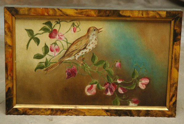 17: Oil Painting Sparrow Apple Blossom