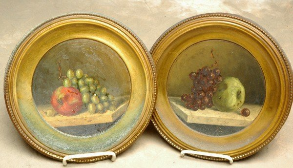 18: Pair Early Oil Painting Still Life of Apples