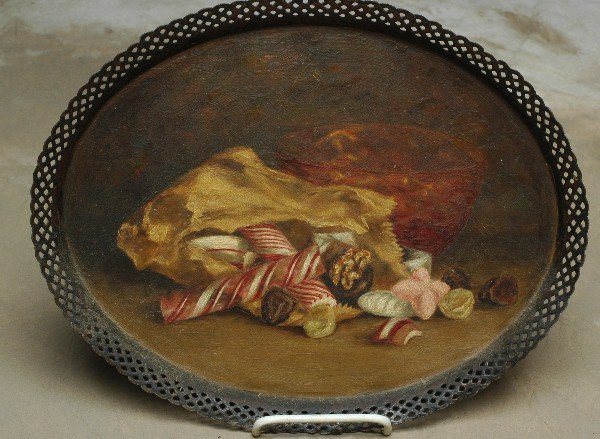 20: 1800's Oil Painting Candy on Tray