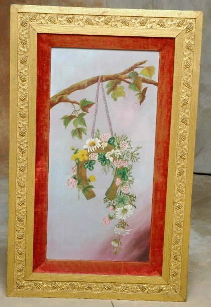21: 1800's Oil Painting Horseshoe Flowers