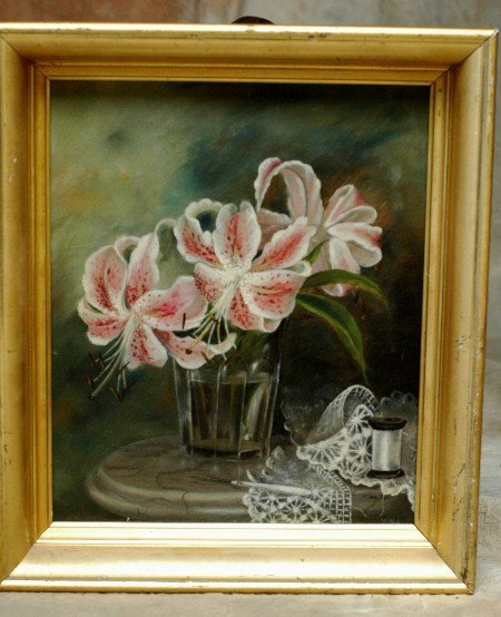 102: 1800's Oil Painting Still Life W.N.A.