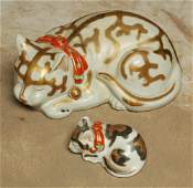 168: Pr Early 1900's Porcelain Cats Oriental