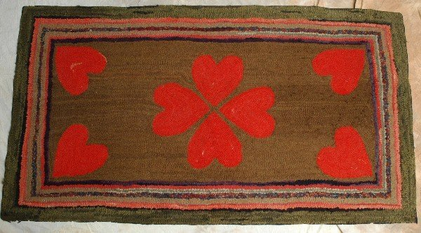 301: Wonderful Folky Early Red Heart Hooked Rug