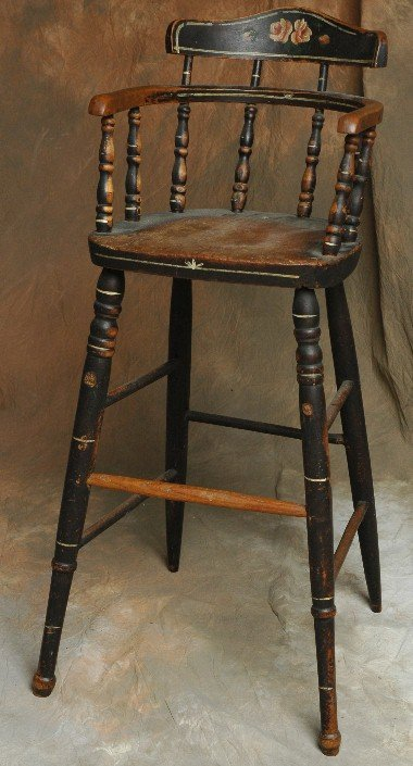 303: 1800's Childs Decorated Highchair