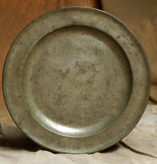 "314: 16"" Old Pewter Charger w Hallmarks"