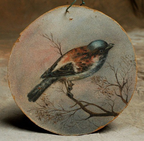 317: 1800's Oil on Board Painting of Songbird