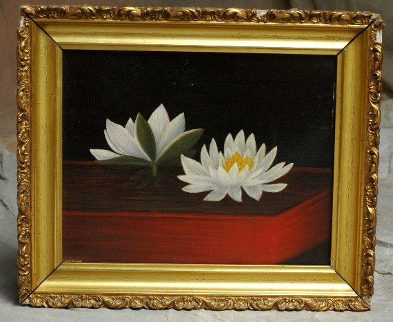 318:  Oil Painting Still Life Waterlilies 1800's