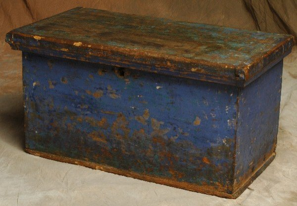 319: Early Primitive Dovetailed Painted Blue Box