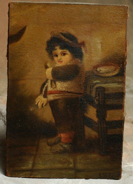 323: 1800's Oil Painting Boy signed S. B. Gage