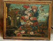 439 Lg Early Oil Painting Roman Landscape