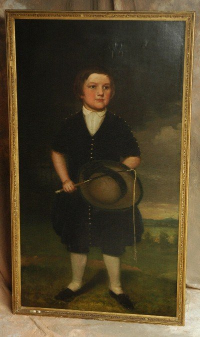 451: Lifesize Oil Painting 1800's Young Boy w Whip