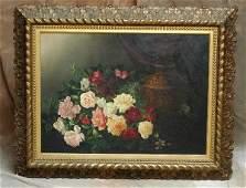 509: Lg. Floral Still Life Study Roses Fesseudeu