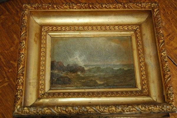 593: 1800's Oil Painting Coastal Waves Deep Gold Frame