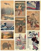 Group Of  Ten Assorted Japanese Woodblock Prints