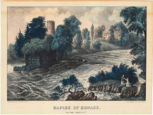 Currier Ives The Rapids of Dunass