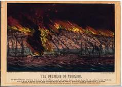 Currier  Ives The Burning of Chicago