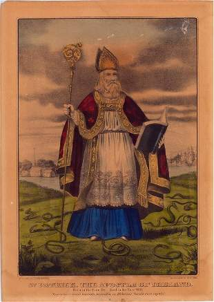 """Currier & Ives """"St. Patrick """"The Apostle of Ireland"""""""