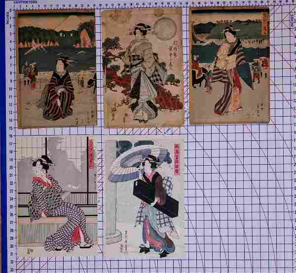 Group Lot Of 5 Assorted Japanese woodblock prints