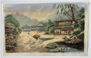 Japanese Woodblock On Silk: Village Scene
