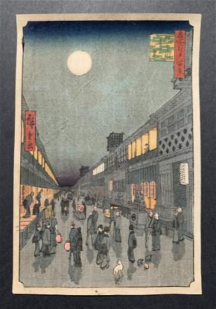 Ando Hiroshige: Night View of Saruwaka-machi