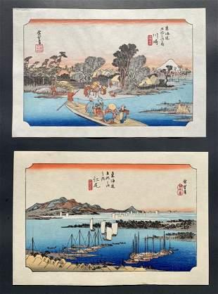 Ando Hiroshige: Two Japanese Woodblock Prints