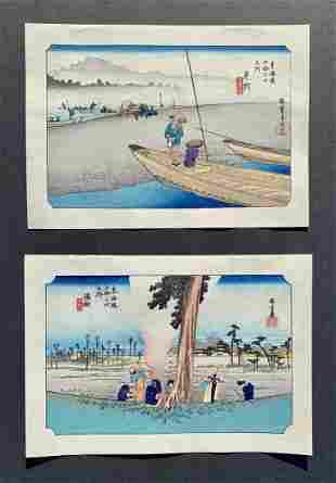 Ando Hiroshige: Two Woodblock Prints