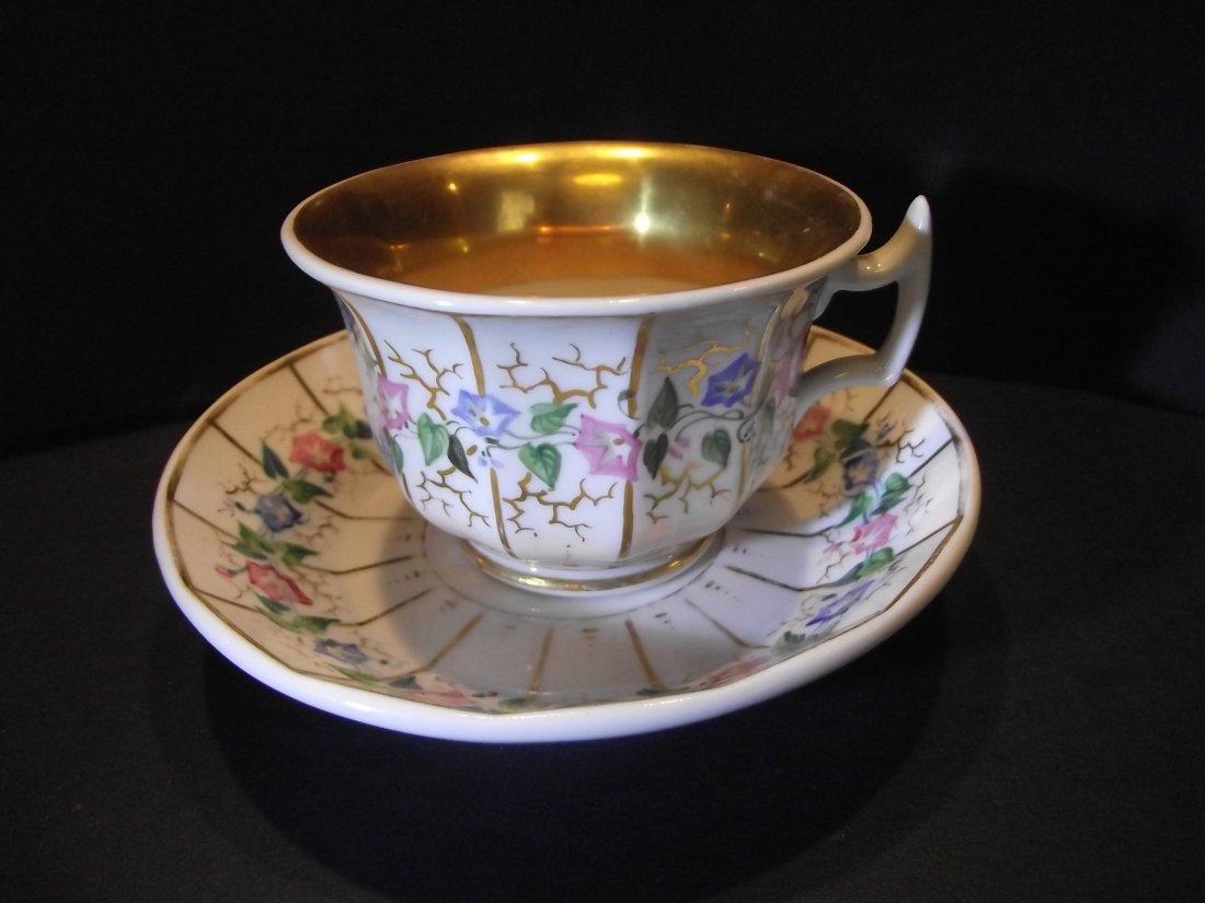 Vintage SPM Germany porcelan rose golden plate with cup