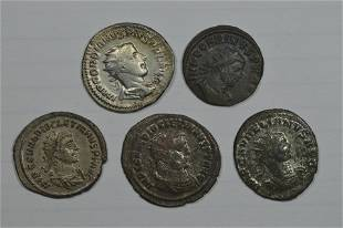 A Silver and Bronze Imperial Roman Antoniniani Quintet