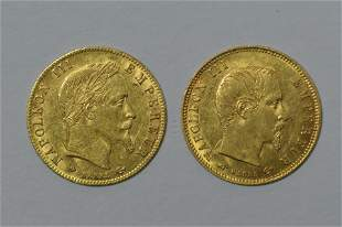 Two Different France 5 Franc Gold Type Coins