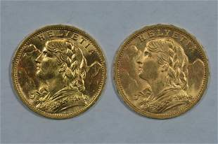 A Pair of Switzerland 20 Franc Gold Pieces