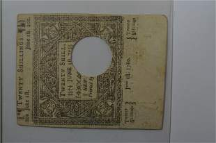 U.S. Colonial Currency, Connecticut. 20 Shillings
