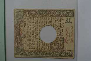 U.S. Colonial Currency, Connecticut. 5 Shillings