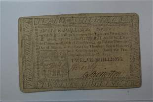 U.S. Colonial Currency, Pennsylvania. 12 Shillings