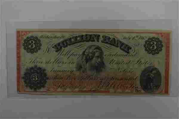 U.S. Obsolete Currency. 1862 $3.00 The Bullion Bank