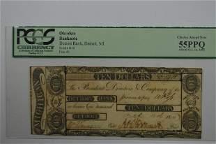 U.S. Obsolete Currency. 1806 $10.00 Detroit Bank,