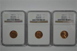 Trio of High Grade Certified 1938-S Lincoln Cents.