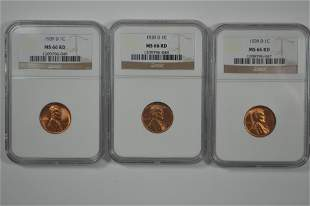 Certified 1939-D Lincoln Cent Threesome