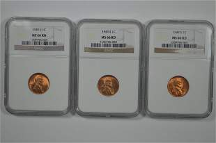 Three NGC MS66 RD 1949-S Lincoln Cents