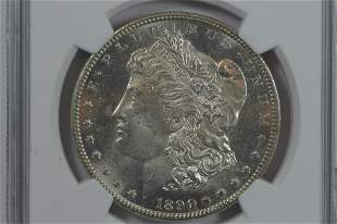 $1.00 Silver 1890-CC NGC UNC Details, Obverse Cleaned.